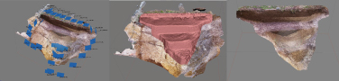 Exemple d'acquisition photogrammétrique d'une coupe de fossé du monument princier de Lavau, en différentes étapes de calcul sur le logiciel Agisoft Photoscan.