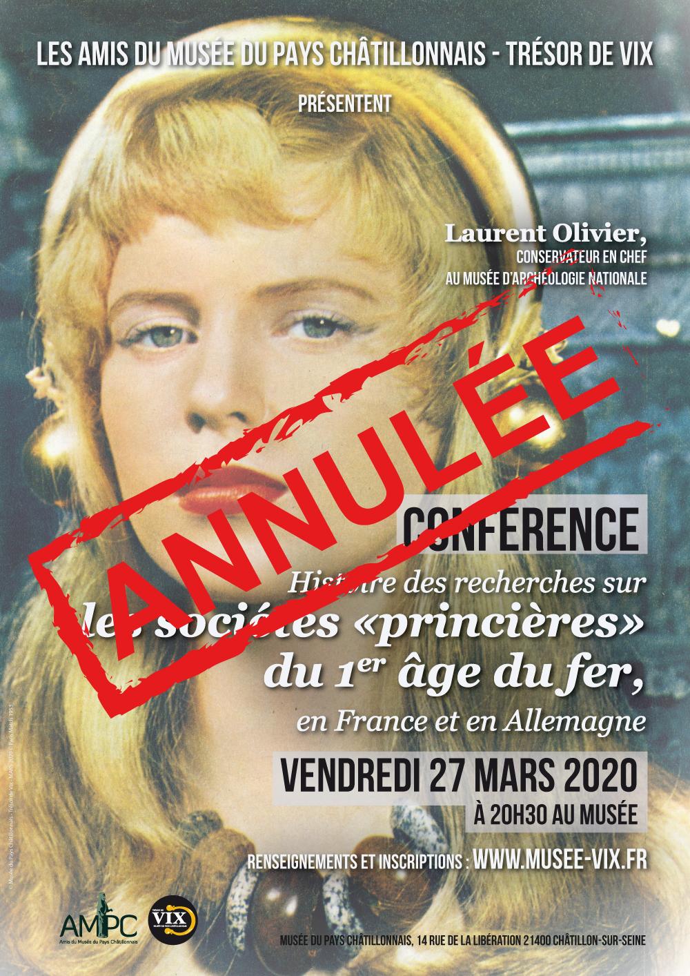 Conférence Laurent Olivier annulée