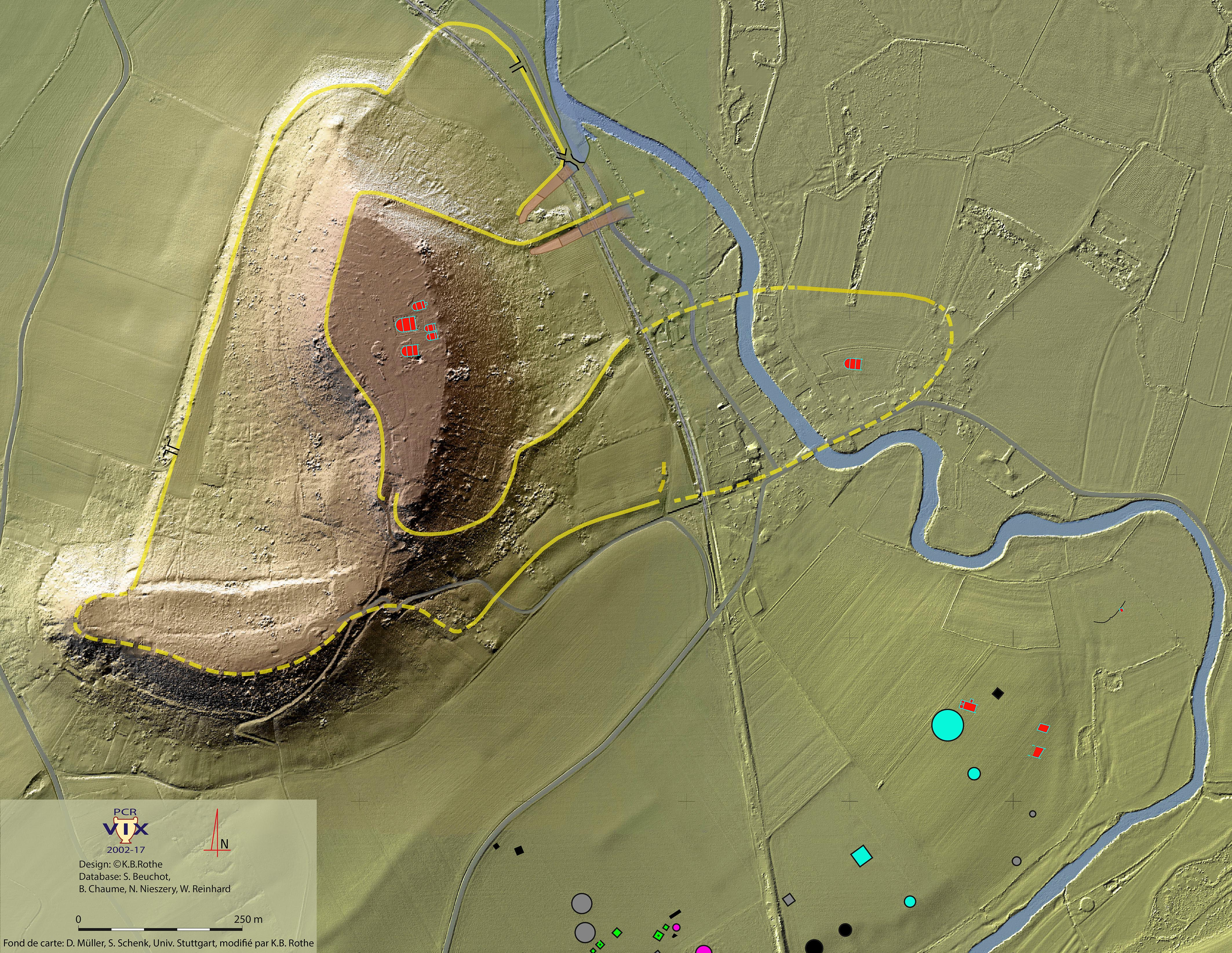 Vue de l'implantation des structures archéologiques sur le mont Lassois et dans la plaine de Vix